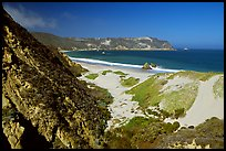 Dunes and Cuyler Harbor, mid-day, San Miguel Island. Channel Islands National Park, California, USA.