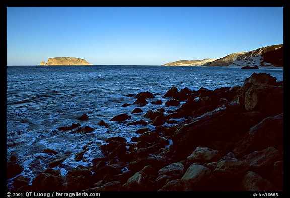 Prince Island and Cuyler Harbor, sunset, San Miguel Island. Channel Islands National Park (color)