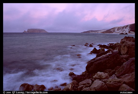 Prince Island and Cuyler Harbor, dusk, San Miguel Island. Channel Islands National Park (color)