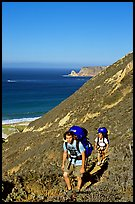 Backpackers in Nidever canyon , San Miguel Island. Channel Islands National Park, California, USA. (color)