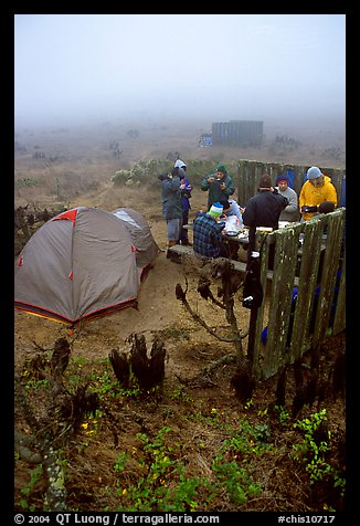 Campers in fog, San Miguel Island. Channel Islands National Park (color)