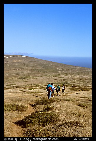 Hiking across  island to Point Bennett, San Miguel Island. Channel Islands National Park (color)