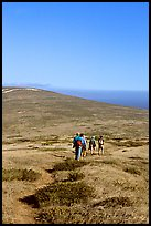 Hiking across  island to Point Bennett, San Miguel Island. Channel Islands National Park, California, USA. (color)