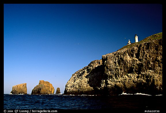 Cliffs and lighthouse, East Anacapa Island. Channel Islands National Park, California, USA.