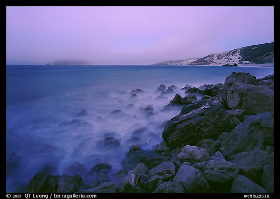 Prince Island and Cuyler Harbor with fog, dusk, San Miguel Island. Channel Islands National Park (color)