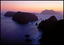 Sunset over island chain, Anacapa Island. Channel Islands National Park, California, USA.
