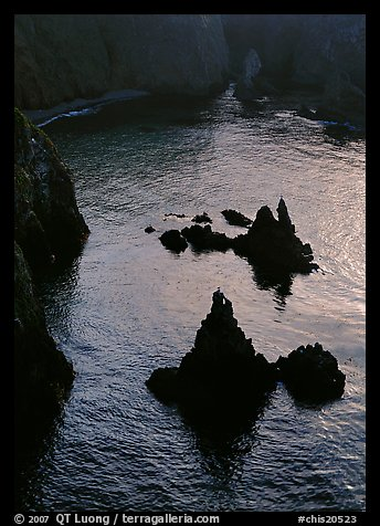 Rocks and ocean, Cathedral Cove, Anacapa, late afternoon. Channel Islands National Park (color)