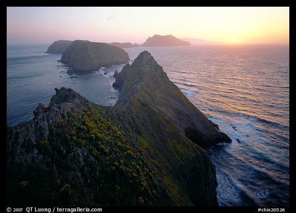 Inspiration point, sunset, Anacapa Island. Channel Islands National Park (color)