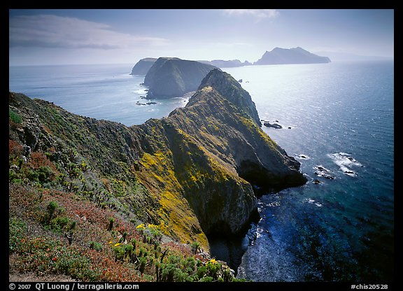 Chain of islands, afternoon, Anacapa Island. Channel Islands National Park, California, USA.