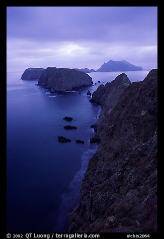 View from Inspiration Point, dusk. Channel Islands National Park, California, USA.