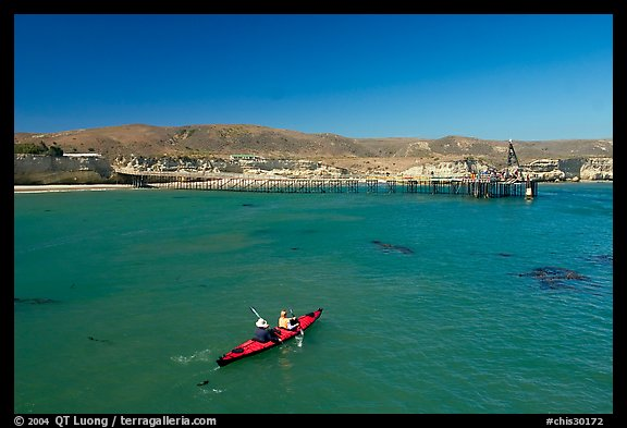 Kayakers in Bechers Bay, Santa Rosa Island. Channel Islands National Park (color)