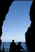 Looking out from inside Painted Cave, Santa Cruz Island. Channel Islands National Park, California, USA.