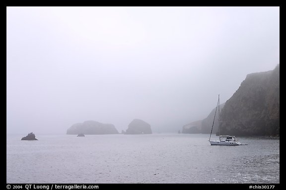 Yacht moored in Scorpion Anchorage in  fog, Santa Cruz Island. Channel Islands National Park (color)