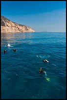 Scuba diving near Santa Cruz Island. Channel Islands National Park, California, USA. (color)