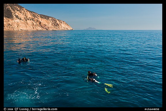 Scuba divers on ocean surface, Santa Cruz Island. Channel Islands National Park, California, USA.