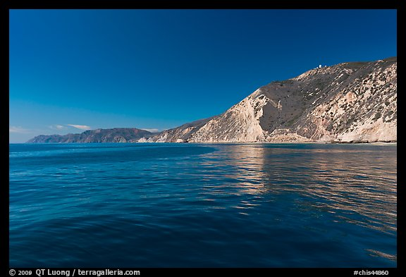 South shore cliffs and reflections, Santa Cruz Island. Channel Islands National Park (color)