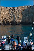 Dive boat and cliffs, Annacapa Island. Channel Islands National Park, California, USA. (color)