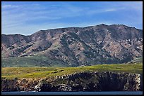 Tall hill ridge and cliff seen from ocean, Santa Cruz Island. Channel Islands National Park ( color)
