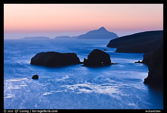 Rocks and Anacapa Islands a dawn, Santa Cruz Island. Channel Islands National Park (color)