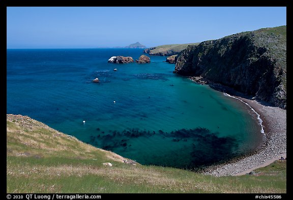 Aquamarine waters and kelp in bay, Scorpion Anchorage, Santa Cruz Island. Channel Islands National Park (color)