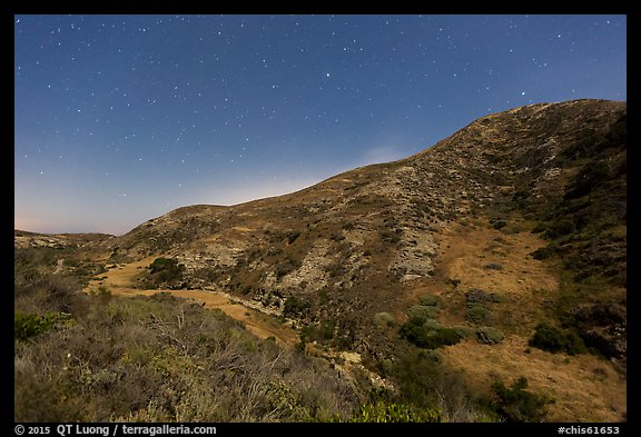 Cherry Canyon at night, Santa Rosa Island. Channel Islands National Park (color)