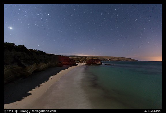 Bechers Bay and Carrington Point at night, Santa Rosa Island. Channel Islands National Park (color)