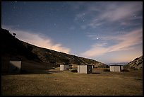 Campground at night, Santa Rosa Island. Channel Islands National Park, California, USA.