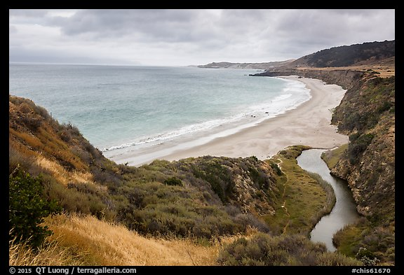 Water Canyon Beach and stream from above, Santa Rosa Island. Channel Islands National Park (color)