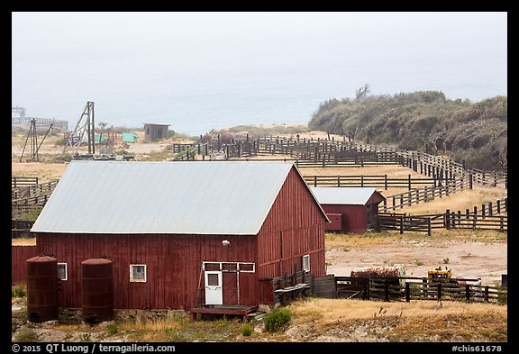 Barns and corrals, Vail and Vickers Ranch, Santa Rosa Island. Channel Islands National Park (color)