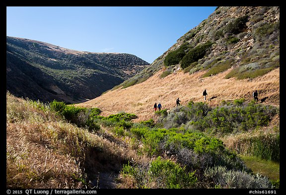Hikers, Lobo Canyon, Santa Rosa Island. Channel Islands National Park (color)