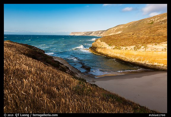 Beach at the mouth of Lobo Canyon, Santa Rosa Island. Channel Islands National Park (color)