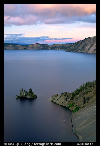 Phantom Ship and Chaski Bay at sunset. Crater Lake National Park, Oregon, USA.
