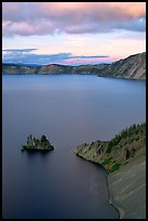 Phantom Ship and Chaski Bay at sunset. Crater Lake National Park ( color)