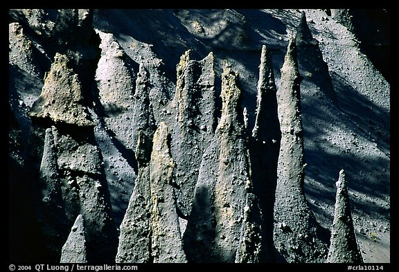Pumice and ash pipes cemented by volcanic gasses. Crater Lake National Park (color)