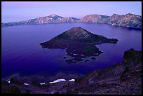 Wizard Island and Lake at dusk. Crater Lake National Park, Oregon, USA.