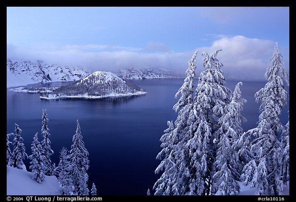 Wizard Island and Lake at dusk in winter. Crater Lake National Park (color)