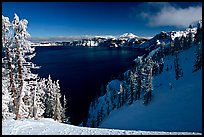 Snow-covered trees and dark lake waters. Crater Lake National Park, Oregon, USA.