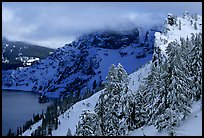 Trees and cliffs in winter. Crater Lake National Park, Oregon, USA.