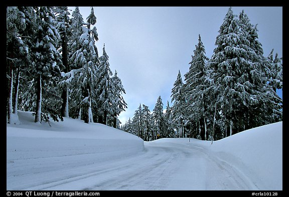 Snow-covered road. Crater Lake National Park, Oregon, USA.