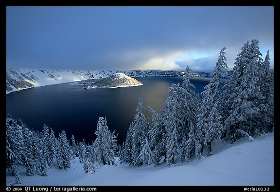 Trees, Lake and Wizard Island, cloudy winter sunrise. Crater Lake National Park (color)