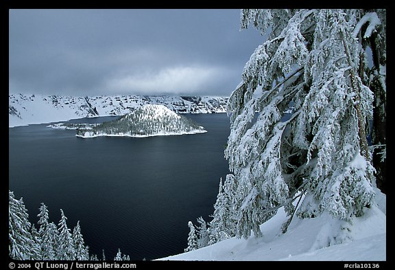 Trees and Wizard Island in winter with clouds and dark waters. Crater Lake National Park, Oregon, USA.