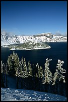 Trees, Wizard Island, and Lake in winter, afternoon. Crater Lake National Park, Oregon, USA.