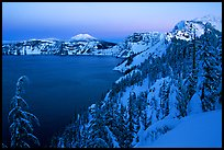 Lake, Mt Garfield, Mt Scott, winter dusk. Crater Lake National Park, Oregon, USA.