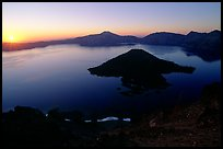 Lake and wizard island from  Watchman at sunrise. Crater Lake National Park, Oregon, USA.