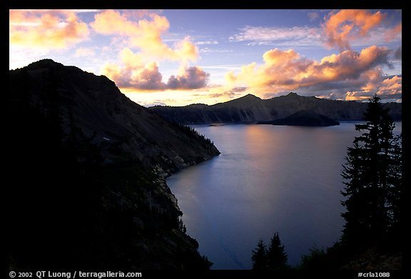 Clouds and lake from Sun Notch, sunset. Crater Lake National Park, Oregon, USA.