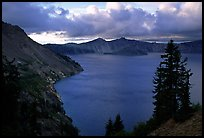 Tree, lake and clouds, Sun Notch. Crater Lake National Park, Oregon, USA. (color)