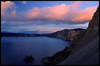 Phantom ship and lake seen from Sun Notch, sunset. Crater Lake National Park, Oregon, USA. (color)