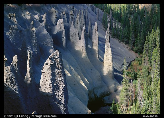 Pinnacles rising from Sand Creek Canyon. Crater Lake National Park (color)
