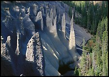 Pinnacles rising from Sand Creek Canyon. Crater Lake National Park, Oregon, USA.