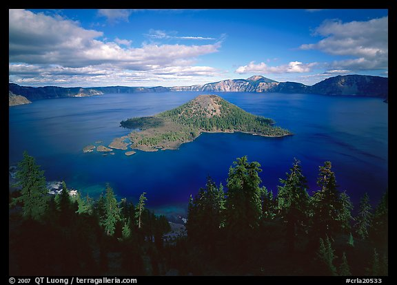 Wide view of lake with Wizard Island, afternoon. Crater Lake National Park (color)